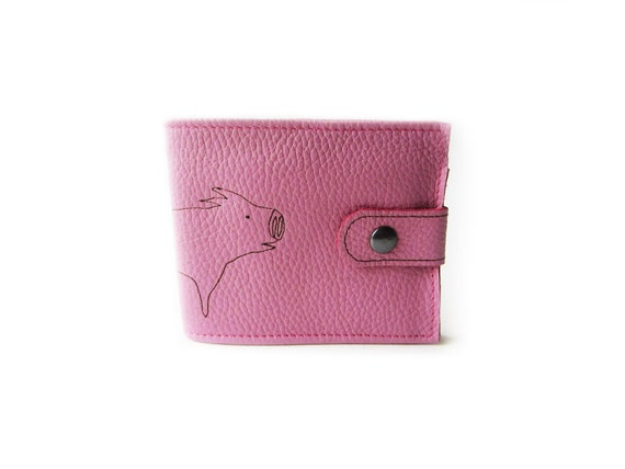 Custom order for Patricia from Kansas, USA -  leather billfold wallet pink pig