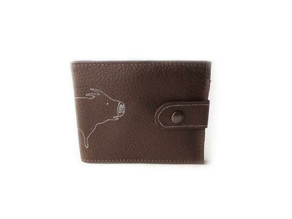 leather billfold wallet brown pig folding coin wallet