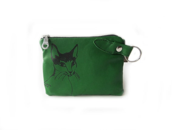 leather wallet green cat screenprint pouch zippered coin purse