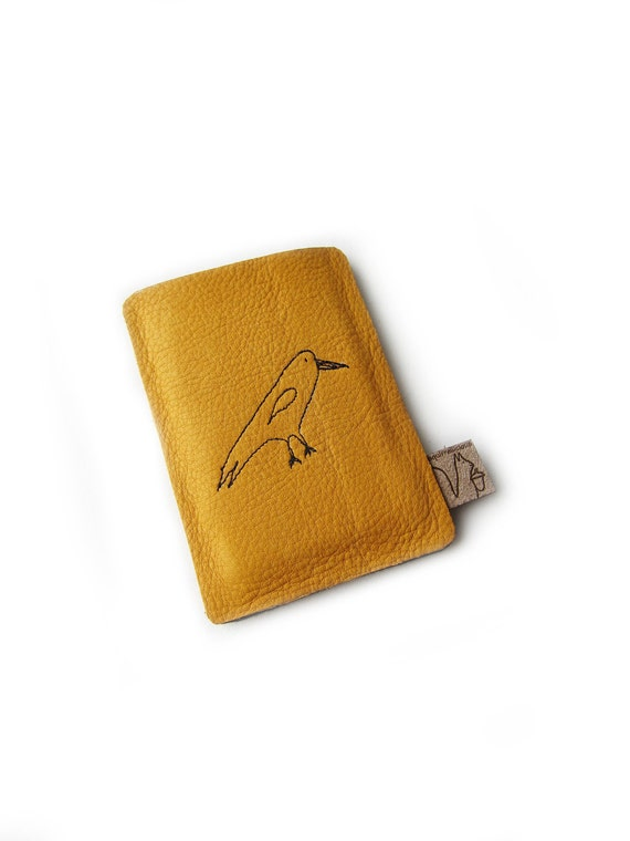 RESERVED for Elayase from Turkey -leather creditcard holder bird yellow leather