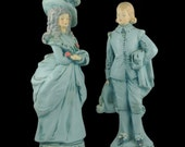 Vintage Chalkware Couple Figurine - European Paris Shabby Romantic Blue