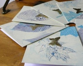 Flyover- Hand-Printed Cards with Gold Foil Butterfly- set of 8