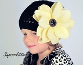 Baby Flower Hat - Ivory & Black Toddler Beanie with Interchangeable Vintage Look Magnolia Flower Clip - Crochet Toddler/Girl Photo Prop