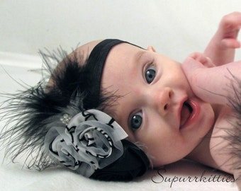 Black and White Baby Headband - Rosette Baby Flower Headband - Toddler/Girl Feather Headband w/Satin Rose Photo Prop