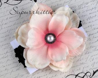 Baby Flower Headband - Newborn Headband - Pink/Black Magnolia Baby Crochet Headband - Toddler/Girl - Photo Prop