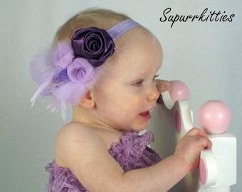 Purple Baby Flower Headband -  Lavender Newborn Rosette Headband - Feather Baby Flower Headband - Toddler/Girl Photo Prop