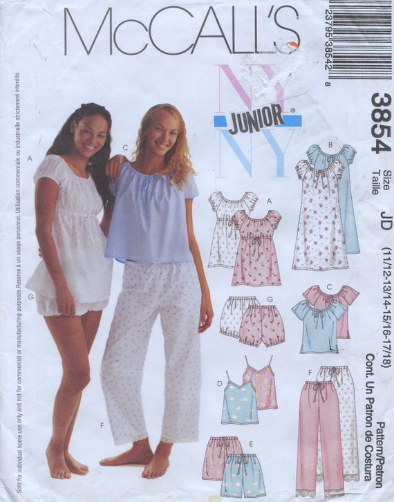 3854 McCalls NIGHTGOWN, CAMISOLES, Shorts, Pants for Juniors Sizes12,14,16,18