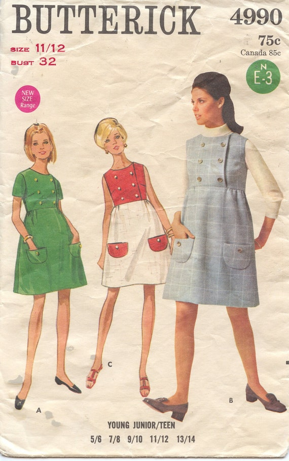 1969 Vintage Butterick 4990 MOD Empire Dress Size 12 BRITISH INVASION