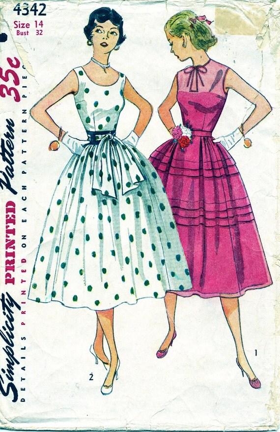 Vintage Pattern 1950's Simplicity 4342 ROCKABILLY DRESS Size 14