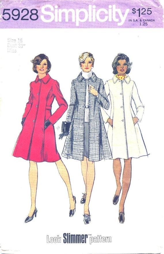 Vintage 1973 Simplicity 5928 PRINCESS COAT Size16