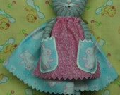 """Made to order:  fabric grey tabby cat kitten with dress, apron & pockets 5 1/4"""" tall doll ornament"""