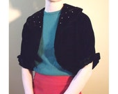 NEW PRICE 1950s Black velvet bolero
