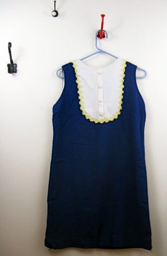 RESERVED 60's Mod Tuxedo Bibbed Daisy Chain Dress S/M