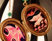 Harlequin Mask 2 Art Locket Necklace - thestapeliacompany