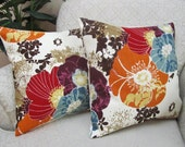 Autumn Throw Pillow Covers Decorative Orange Red Purple Slate Blue Brown Set of Two 16 x 16 Amelia Floral