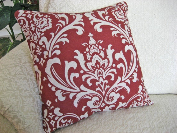Decorative Throw Pillow Cover Red 16 x 16 Damask