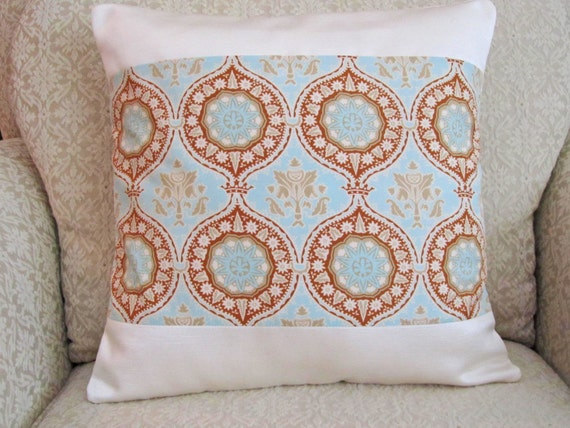 Cream Decorative Pillow Covers : Throw Pillow Cover Decorative Blue Cream by asmushomeinteriors