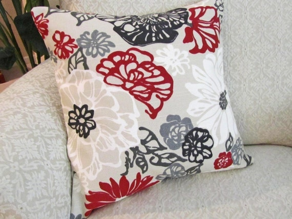 Throw Pillow Cover Decorative Red Black Gray Taupe 16 X 16