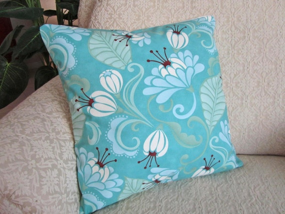 Blue And Aqua Throw Pillows : Decorative Throw Pillow Cover Aqua Blue Brown White 16 x 16