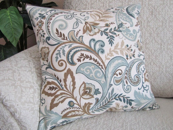 Decorative Throw Pillow Cover Slate Blue Beige Taupe 16 X 16