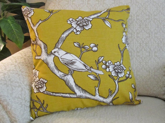 Yellow Bird Throw Pillows : Decorative Throw Pillow Cover Mustard Yellow Bird 18 x 18