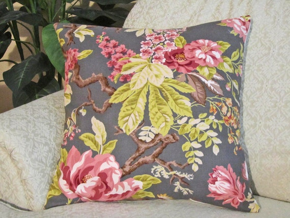 RESERVED for Casscav (Cassandra) - Decorative Throw Pillow Cover Charcoal Gray Pink Taupe Chartreuse Green 18 x 18 Modern Floral