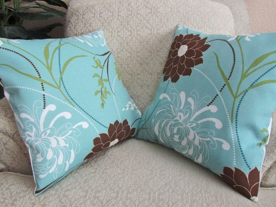 Blue And Brown Decorative Pillow Cover : Decorative Throw Pillow Cover Spa Blue Brown Set of Two 18 x