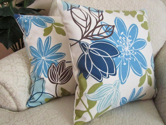 Olive Green And Blue Throw Pillows : Blue Throw Pillow Cover Decorative Olive by asmushomeinteriors