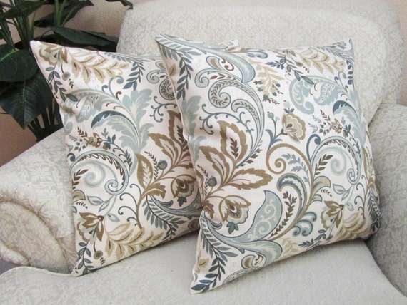 Decorative Throw Pillow Cover Slate Blue Beige Taupe Set Of
