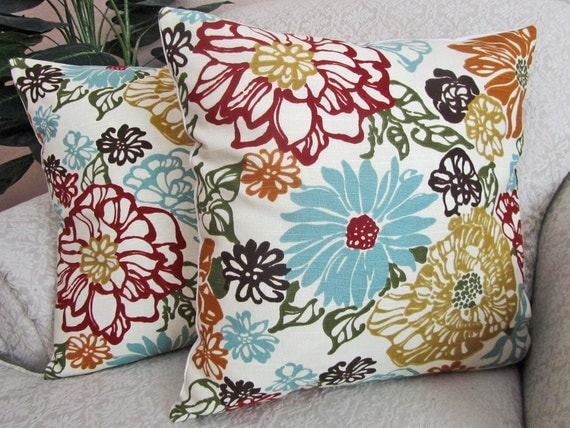 Floral Throw Pillow Cover Decorative Pillow Robins Egg Blue Red Orange Gold Set of Two 18 x 18 Invigorate Confetti