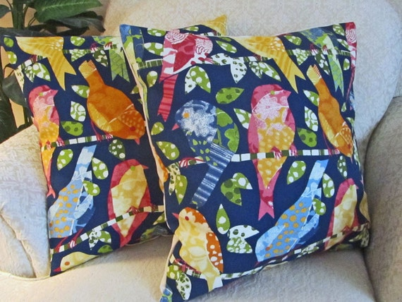 Blue Abstract Bird Decorative Throw Pillow Cover Sofa Cushion Cover Blue Yellow Green Orange Set of Two - 18 x 18  Aviary