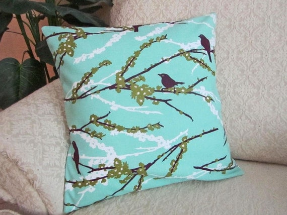Decorative Throw Pillow Cover Cushion Cover Bird Turquoise Blue Plum Dill Green - 16 x 16 Aviary 2 Sparrows