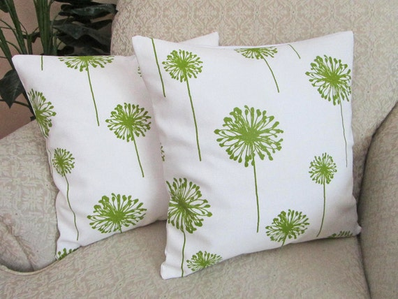 REDUCED - Green Dandelion Pillow Covers, Floral Throw Pillow Covers, Decorative Cushion Covers, Green Pillow Covers - Set of Two - 16 x 16