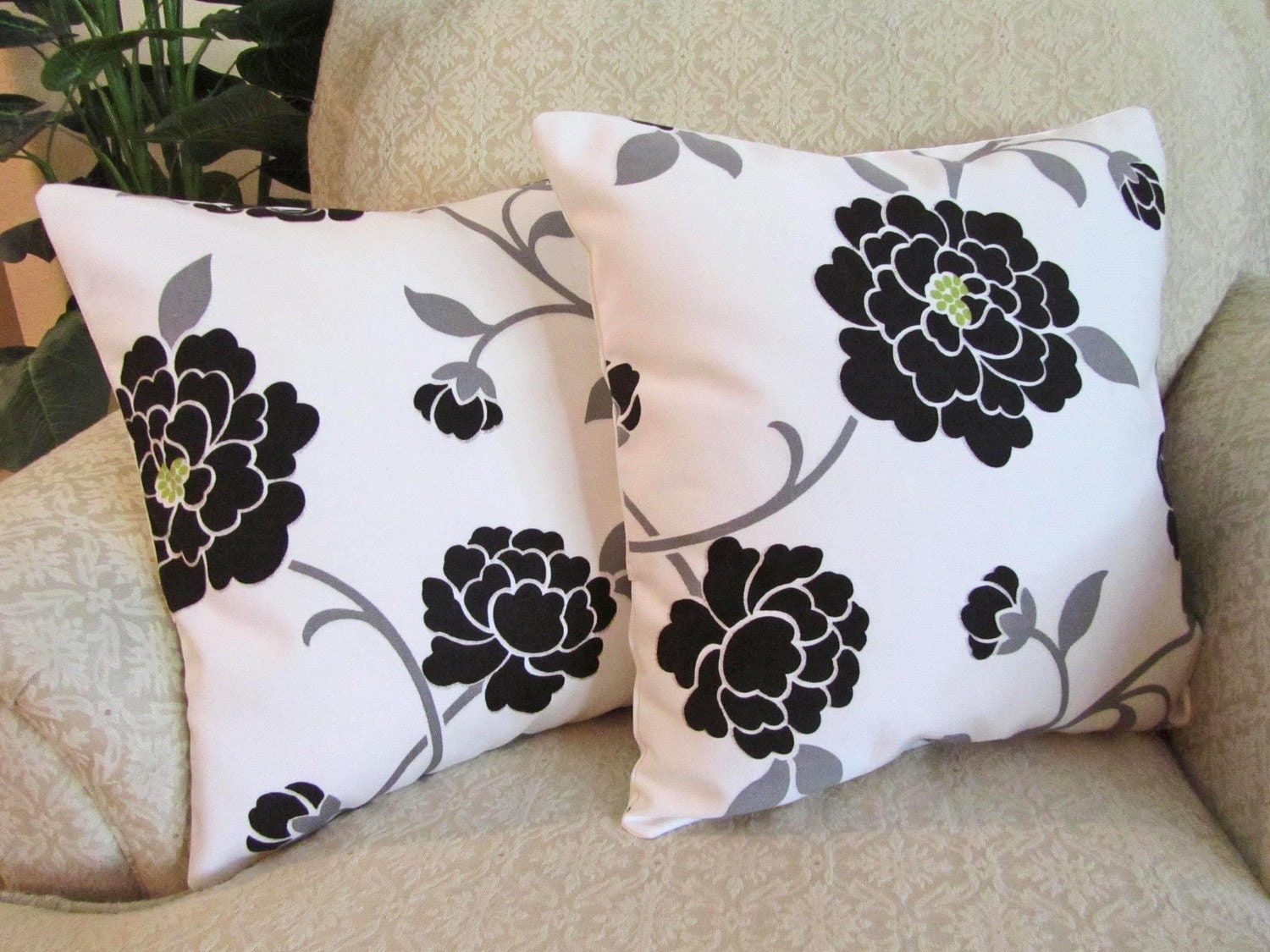 Black White And Green Throw Pillows : Decorative Throw Pillow Covers Black White Lime Green Set of