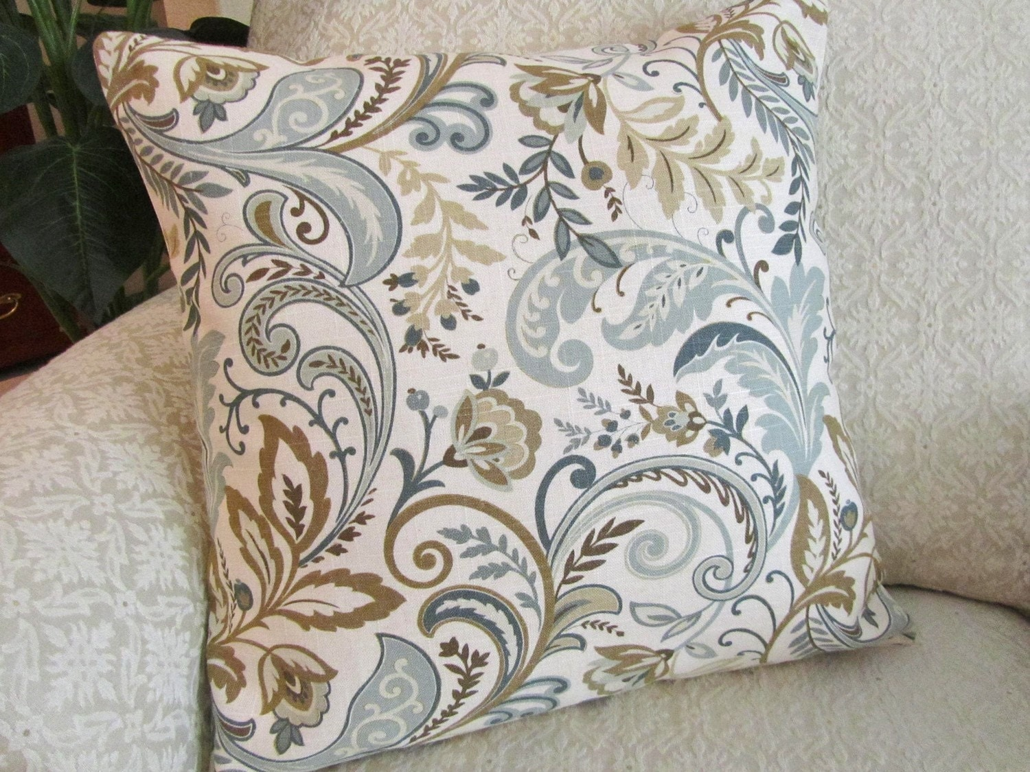 Decorative Throw Pillow Cover Slate Blue Beige Taupe 18 X 18