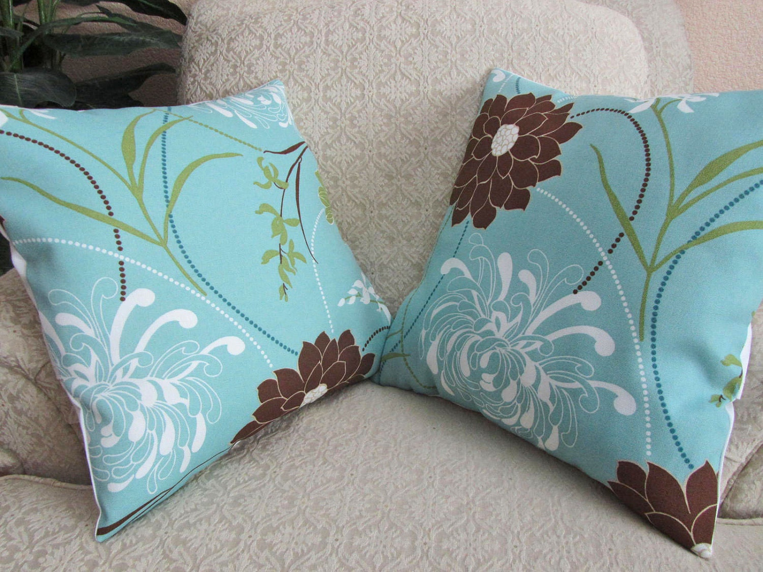 Spa Blue Throw Pillows : Decorative Throw Pillow Cover Spa Blue Brown Set of Two 18 x