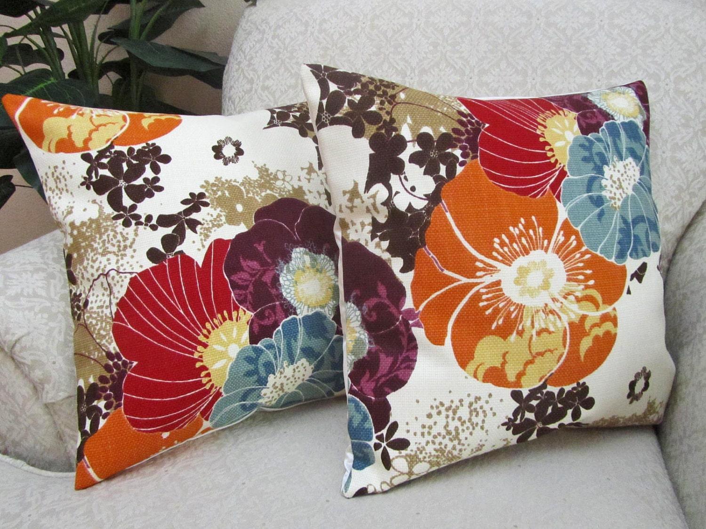 Autumn Throw Pillow Covers Decorative Orange Red Purple Slate