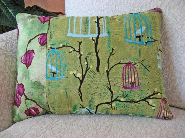 Throw Pillows Matching Curtains : Green Throw Pillow Cover 12 x 16 Michael Miller Lantern