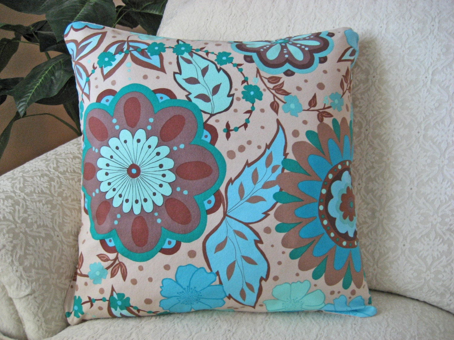 Decorative Throw Pillow Cover Blue 18 x 18 Modern Floral