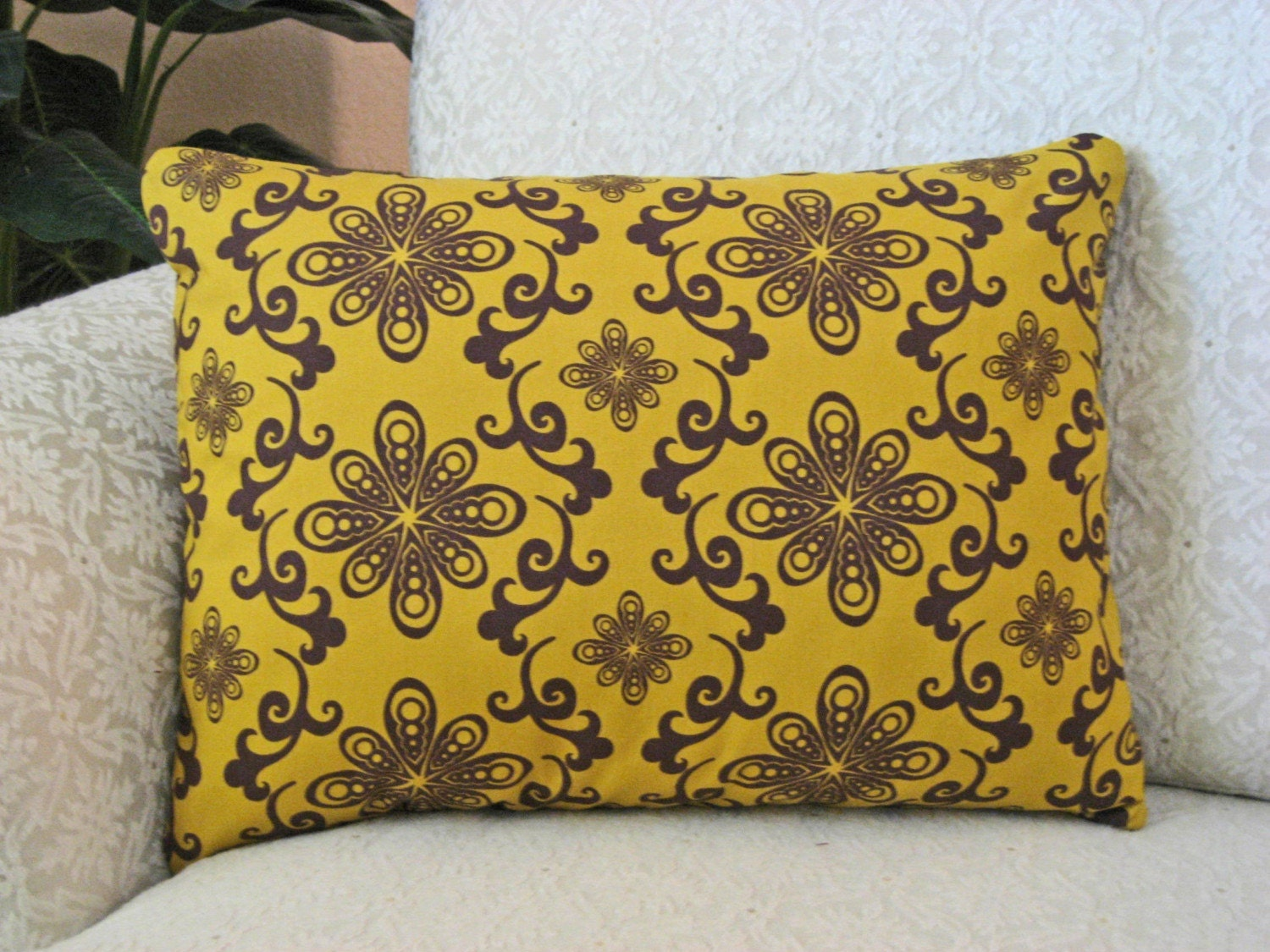 Mustard Throw Pillow Covers : Mustard Yellow Throw Pillow Cover 12 x 16 Chocolate Lollipop