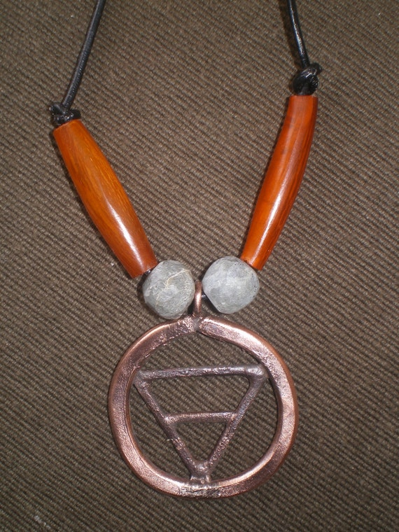 hammered copper Earth element symbol necklace