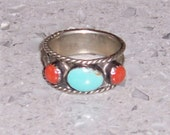 Vintage Silver Ring with Turquoise and Coral Stones, Southwestern Sterling Silver Ring