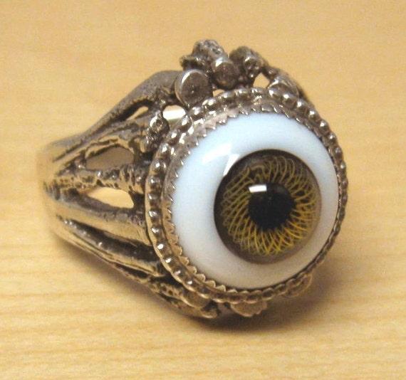 1970s genuine glass eyeball ring with hazel iris sterling