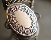 RESERVED: Victorian inspired Solid Natural Perfume Locket with Vintage Charm - Oval Floral Wreath Design