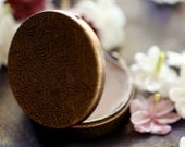 Cimbalom Solid Natural Perfume Round Compact made with hypnotic Jasmine sambac flower in an Antique Finish Engraved Case - Sexy and Exotic