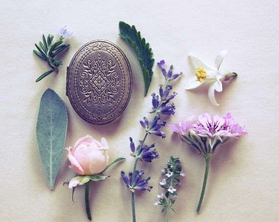 Gracing the Dawn Natural Solid Perfume Mini Compact - A bouquet finely woven with herbs, woods, leaves, resins, spices and flowers.