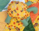 Turtle Kwilt Set Vibrant Yellow Orange Quilt and Stuffed Animal Child Set OOAK