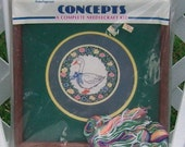 Blue Ribbon Goose Complete Needlepoint Kit with Mats and Frame By Concepts