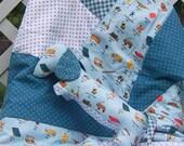 Dachshund Kwilt Set Blue and White Vintage Toy Print Quilt and Stuffed Animal Child Set OOAK