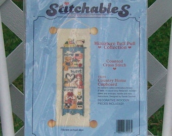 Country Cupboard Counted Cross Stitch Bell Pull Kit